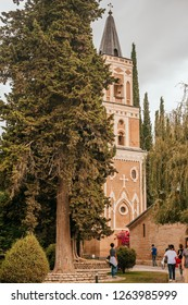 Tbilisi, Georgia - August 10, 2018: Saint Nino Bodbe Monastery - Georgian Orthodox monastic complex near Sighnaghi, Georgia.