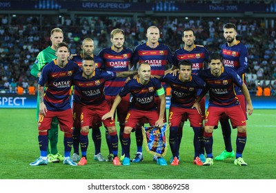 Tbilisi, Georgia - August 11: Group photo FC Barcelona players before the UEFA Super Cup at the Boris Paichadze Dinamo Arena on August 11, 2015 in Tbilisi, Georgia.