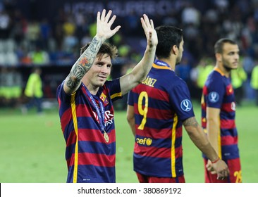 Tbilisi, Georgia - August 11: Leo Messi of FC Barcelona during match UEFA Super Cup at the Boris Paichadze Dinamo Arena on August 11, 2015 in Tbilisi, Georgia.