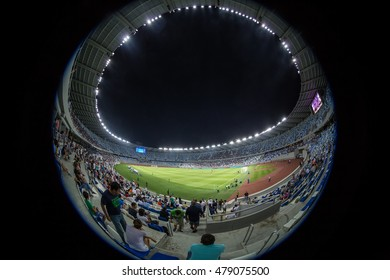 Tbilisi, Georgia - August 18, 2016: Interior view of Boris Paichadze Dinamo Arena during the  UEFA Europa League, first round of the playoffs between Dinamo vs PAOK. Picture taken with fisheye lens