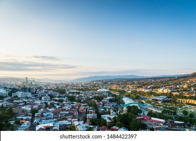 Tbilisi, Georgia - August 2019. Tbilisi downtown and old town aerial view in the capital of Georgia at sunset. Tbilisi is the capital and the largest city of Georgia.