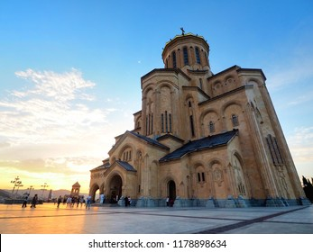 Tbilisi / Georgia - August 5 , 2018 :Sunset scenery of Holy Trinity Cathedral of Tbilisi (Tsminda Sameba) in the evening , the main cathedral of the Georgian Orthodox Church.