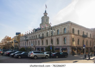 TBILISI, GEORGIA - December 16, 2017 : The Tbilisi City Assembly Building also known as the Tbilisi Sakrebulo in Freedom Square on Rustaveli Avenue