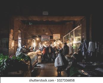 Tbilisi, Georgia. december 27, 2017. dezerter bazaar general plan. covered market, horizontal photo