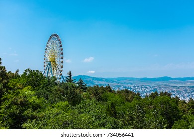 TBILISI, GEORGIA, EASTERN EUROPE - Big ferris wheel located at Mtatsminda Park Funicular complex.
