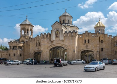 TBILISI, GEORGIA, EASTERN EUROPE - JULY 20TH, 2015 : The Holy Trinity Cathedral of Tbilisi, also known as Sameba Cathedral located on Elia Hill, in the neighbourhood of Avlabari in Old Tbilisi.