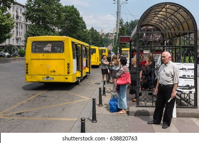 TBILISI, GEORGIA, EASTERN EUROPE - JULY 23RD, 2015 : Bus stop in the Georgian capital of Tbilisi on Nikoloz Baratashvili Street.
