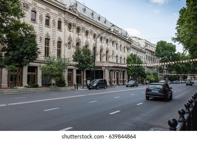 TBILISI, GEORGIA, EASTERN EUROPE - JULY 18TH, 2015 : Rustaveli National Theatre on Shota Rustaveli Avenue,