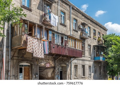 TBILISI, GEORGIA, EASTERN EUROPE - JULY 20TH, 2015 : Residential buildings in the Old Town district of the city (Dzveli Tbilisi)