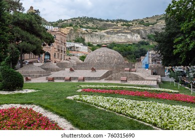 TBILISI, GEORGIA, EASTERN EUROPE - JULY 22ND, 2015 : Distinctive dome shaped sulphur baths of the Abanotubani Bath District in the Old Town sector of the city.