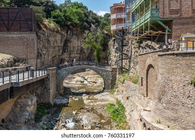 TBILISI, GEORGIA, EASTERN EUROPE - JULY 22ND, 2015 : Abanotubani Bath District in the Old Town sector of the city.