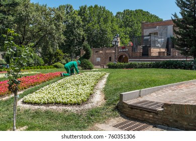 TBILISI, GEORGIA, EASTERN EUROPE - JULY 22ND, 2015 : Public gardens in the Abanotubani Bath District in the Old Town sector of the city known for its sulphur baths.