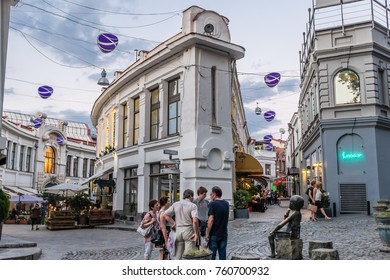 TBILISI, GEORGIA, EASTERN EUROPE - JULY 23RD, 2015 : Tourists on the Jan Shardeni and Bambis Rigi streets of the Old Town district, where many bars and restaurants are located.
