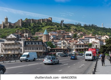 TBILISI, GEORGIA, EASTERN EUROPE - MAY 22ND, 2015 : Old Town district in Tbilisi with Narikala Fortress and the Mother of Georgia statue (Kartlis Deda).