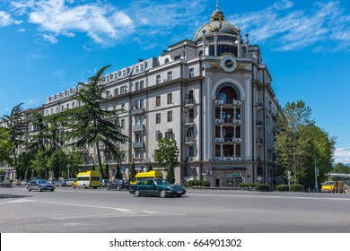 TBILISI, GEORGIA, EASTERN EUROPE - MAY 6TH, 2015 : Buildings in central Tbilisi on Nikoloz Baratashvili Street.