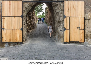 TBILISI, GEORGIA, EASTERN EUROPE - MAY 29TH, 2015 : Entrance to ancient Narikala Fortress which overlooks the city of Tbilisi.