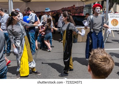 TBILISI, GEORGIA, EASTERN EUROPE - MAY 26TH, 2015 : Mime artists performing at the Georgian Independence Day celebrations in central Tbilisi.