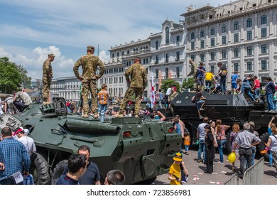 TBILISI, GEORGIA, EASTERN EUROPE - MAY 26TH, 2015 : Georgian military personnel and vehicles on display during the national Independence Day celebrations in Freedom Square in central Tbilisi.