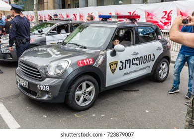 TBILISI, GEORGIA, EASTERN EUROPE - MAY 26TH, 2015 : Georgian Police vehicles on display during the national Independence Day celebrations on Rustaveli Avenue in central Tbilisi.