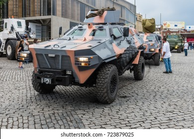 TBILISI, GEORGIA, EASTERN EUROPE - MAY 26TH, 2015 : Georgian military personnel and vehicles on display during the national Independence Day celebrations on Rustaveli Avenue in central Tbilisi.
