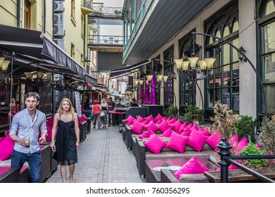 TBILISI, GEORGIA, EASTERN EUROPE - MAY 29TH, 2015 : Restaurant and bars in the Old Town district of the city that are popular with tourists.