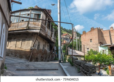 TBILISI, GEORGIA, EASTERN EUROPE - Narrow streets of the Old Town district (Dzveli Tbilisi) of the city.