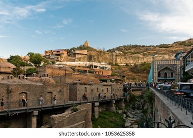 TBILISI, GEORGIA, EASTERN EUROPE - September 24, 2017 : Abanotubani Bath District in the Old Town sector of the city known for its sulphur baths.