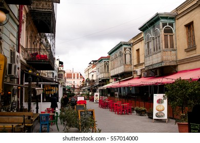 TBILISI, GEORGIA - FEBRUARY 19, 2016: The beautiful tourist street, full of cafes and restaurants with outdoor patios.