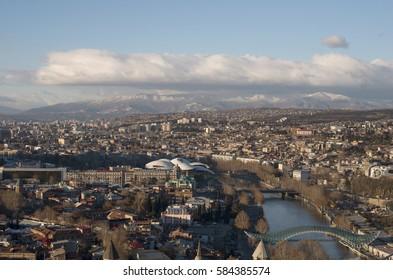 TBILISI, GEORGIA - February, 2017: The top view of Tbilisi; The capital of Georgia.