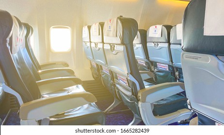 TBILISI, GEORGIA - FEBRUARY 5, 2020: Airplane seats inside. Empty seats without passengers near the window