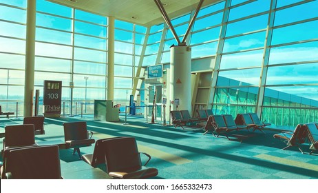 TBILISI, GEORGIA - FEBRUARY 5, 2020: Empty hall of the passenger terminal at Tbilisi International Airport