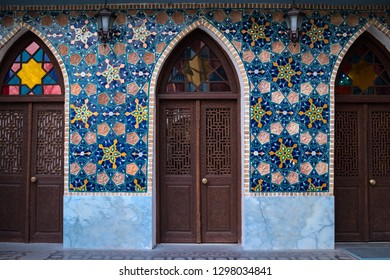 Tbilisi, Georgia - January 27 2019: Orbeliani Mosque, Abanotubani district area. Muslim mosaic, carved wooden doors with stained glass windows. Morning early sunlight. Old historical city