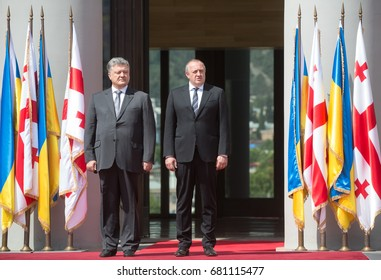 TBILISI, GEORGIA, Jul. 18, 2017: State visit of the president of Ukraine to Georgia. Georgian President Giorgi Margvelashvili and President of Ukraine Petro Poroshenko during a meeting in Tbilisi