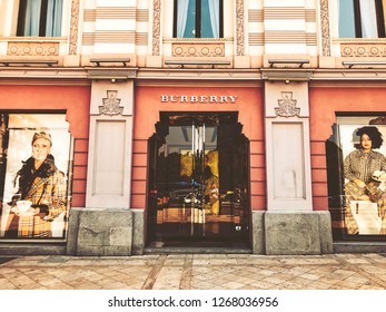 TBILISI, GEORGIA - July 10, 2018: Burberry brand shop. View of the old city hall building's facade and old in Tbilisi, Goergia.