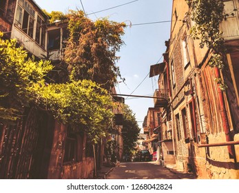 TBILISI, GEORGIA - July 10, 2018: Houses and narrow streets of the old city of Tbilisi, Georgia.