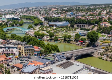TBILISI, GEORGIA - JULY 17, 2017: Aerial view of Mtkvari River in Tbilisi, Georgia