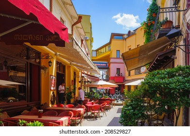 TBILISI, GEORGIA - JULY 18, 2014: Restaurant in the Old Town of Tbilisi. Tbiisi is the capital of Georgia and the largest city in Georgia
