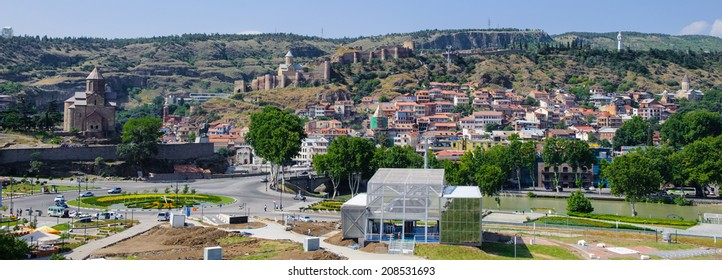 TBILISI, GEORGIA - JULY 18, 2014: Panoramic view of Tbilisi, Georgia. Tbilisi is the capital and the largest city of Geogia with 1,5 mln people population