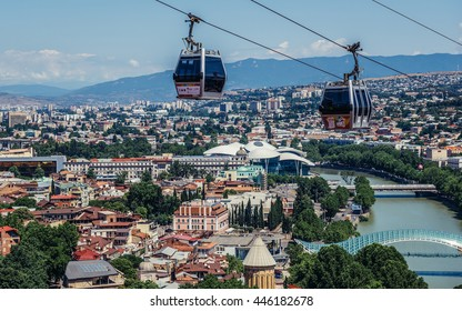 Tbilisi, Georgia - July 18, 2015. Aerial tramway seen from Narikala hill in Tbilisi