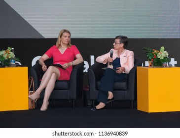 Tbilisi / Georgia - July 18 2018: Tbilisi Concert Hall, OGP Global Summit; Mari Kiviniemi (Left side) — Deputy Secretary-General, OECD and Delia Ferreira Rubio — Chair, Transparency International;