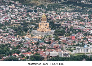 Tbilisi, Georgia - July 2019: Beautiful aerial view of Tbilisi Holy Trinity Church Cathedral from Mtatsminda Park
