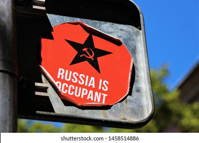 Tbilisi, Georgia. July 2019. Close up of a sticker with political concept against Russia, for the question of the occupied territories of Ossetia and Abkhazia.