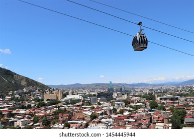 Tbilisi, Georgia. July 2019. Panoramic aerial view of the Tbilisi city centre.