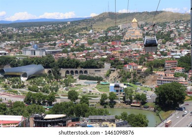 Tbilisi, Georgia. July 2019. Panoramic aerial view of Tbilisi. Capital of Georgia at the foot of the Caucasus.