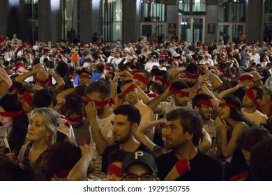 TBILISI, GEORGIA - Jun 26, 2020: Georgian protests in front of the Parliament of Georgia, demonstration