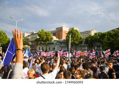 TBILISI, GEORGIA - JUN 29, 2019: Georgian protests in front of the Parliament of Georgia, also known as Gavrilov's Night or anti-government protests in the country of Georgia. Tbilisi, Georgia.