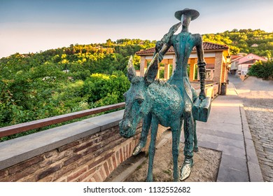TBILISI, GEORGIA - JUNE 03, 2017: Statue in Sighnaghi the capital of the wine region Kakheti in Georgia, Caucasus.