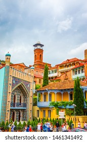 TBILISI, GEORGIA, JUNE 1, 2018: Historical center of old Tbilisi, sulphur baths and Juma mosque, Tbilisi, Georgia
