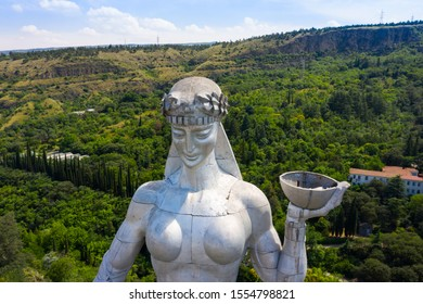 TBILISI, GEORGIA - JUNE 12, 2019: Statue of Mother Georgia in Tbilisi, Georgia. The memorial is 50 meters high and watches over Georgia from a hill above Tbilisi.
