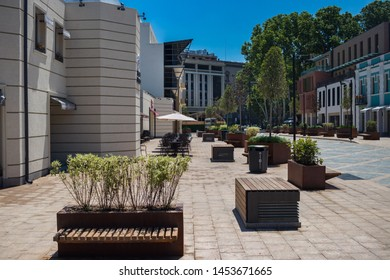 Tbilisi, Georgia - June 14 2019: Orbeliani Square in Tbilisi city with promenade and walking routes. Renovated square.